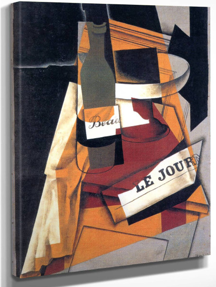 Bottle And Fruit Dish3 By Juan Gris
