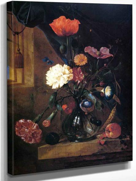 Bouquet In A Glass Vase By Jan Davidszoon De Heem By Jan Davidszoon De Heem