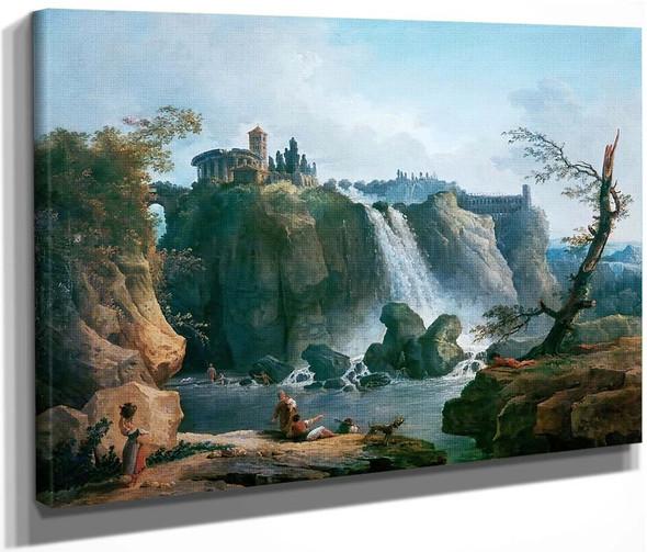 The Waterfall At Tivoli By Hubert Robert