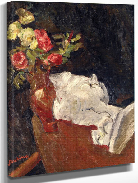 Bouquet Of Flowers With A Plaster Statue By Chaim Soutine