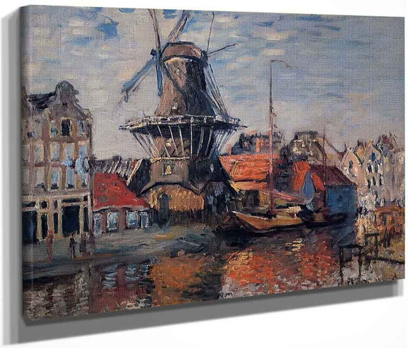 The Windmill On The Onbekende Canal, Amsterdam By Claude Oscar Monet