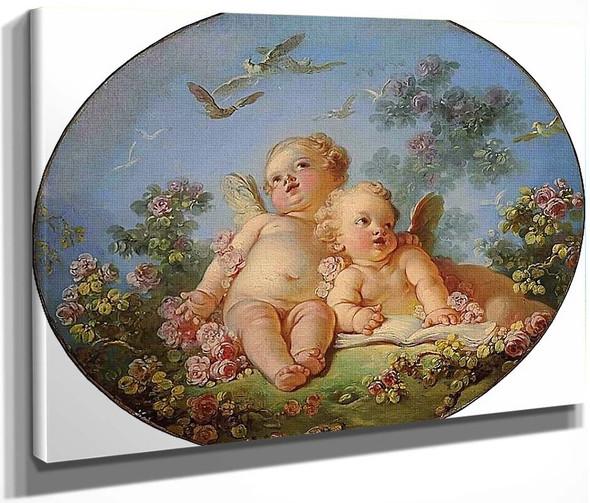 Two Cupids By Jean Honore Fragonard  By Jean Honore Fragonard