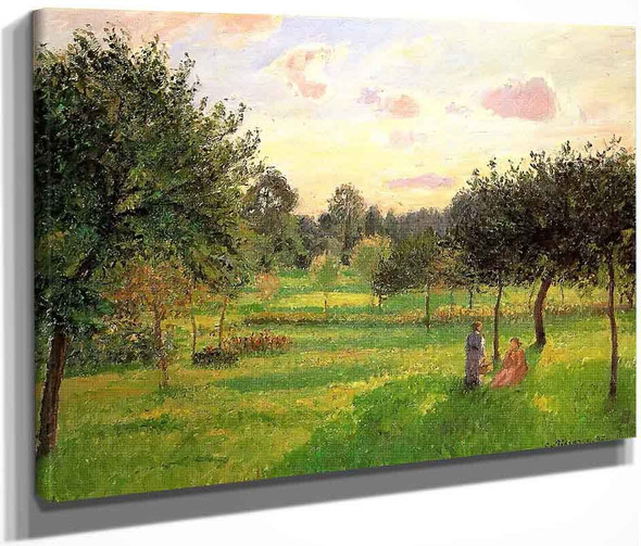 Two Women In A Meadow Sunset At Eragny By Camille Pissarro By Camille Pissarro