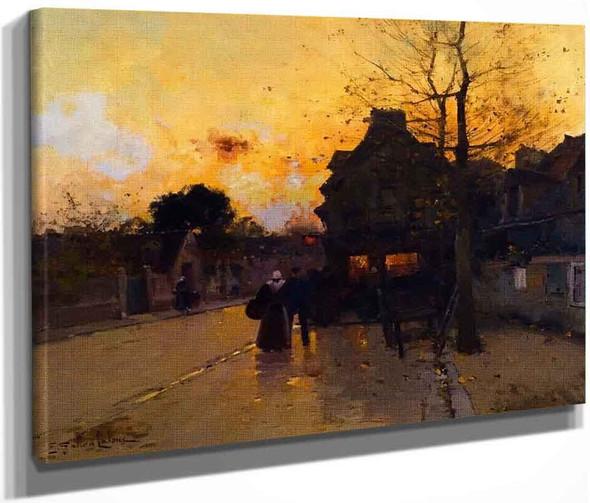 Village, An Autumn Evening By Eugene Galien Laloue