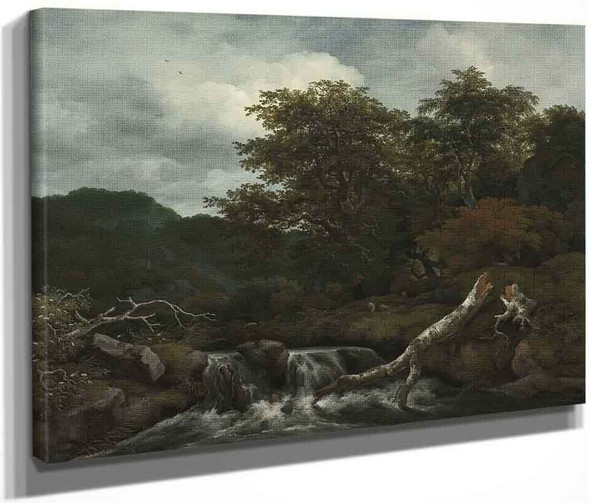 Waterfall In A Hilly Landscape By Jacob Van Ruisdael
