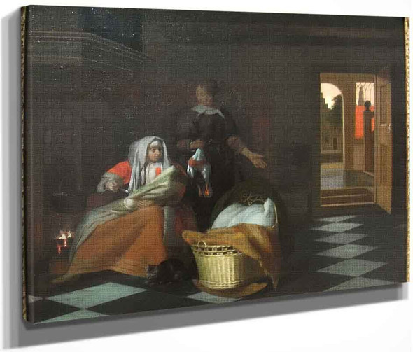 Woman With A Child And A Maid In An Interior By Pieter De Hooch