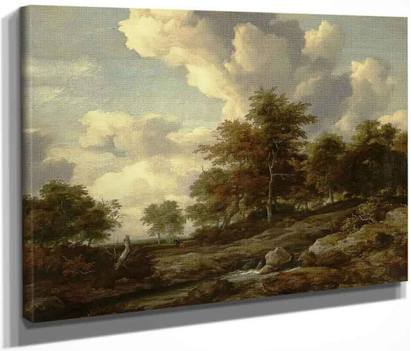 Wooded Landscape With A Rocky Stream By Jacob Van Ruisdael