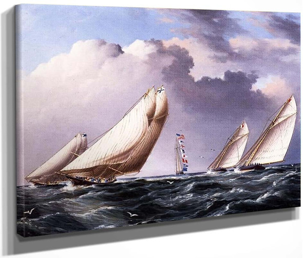 Yachts Rounding The Mark By James E. Buttersworth By James E. Buttersworth