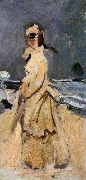 Camille On The Beach By Claude Oscar Monet
