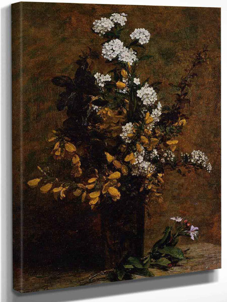 Broom And Other Spring Flowers In A Vase By Henri Fantin Latour By Henri Fantin Latour