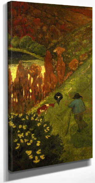 Shepherd In The Valley Of Chateauneuf By Paul Serusier