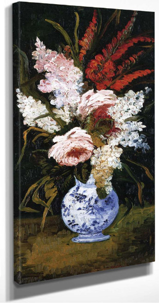 Still Life Vase With Gladioli And Lilacs By Jose Maria Velasco