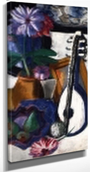 Still Life With Purple Dahlias By Max Beckmann