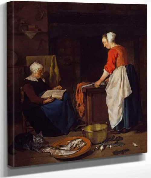 A Kitchen Maid Cleaning Fish And An Old Woman Asleep By Gabriel Metsu