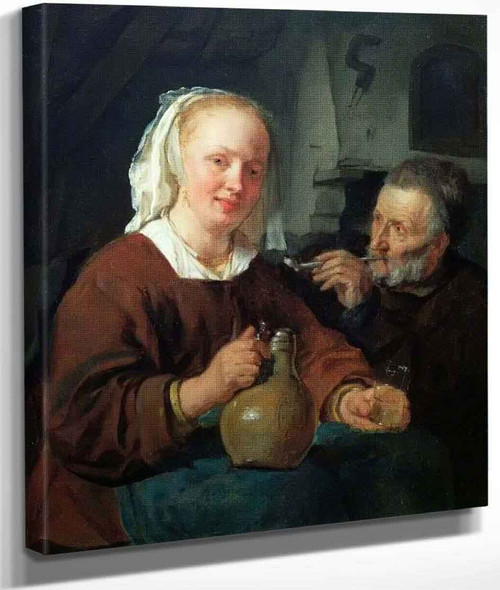 A Man And A Woman At Wine By Gabriel Metsu