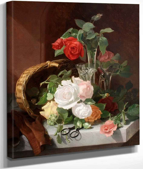 A Still Life Of Flowers In A Glass Epergne On A Marble Ledge By Eloise Harriet Stannard