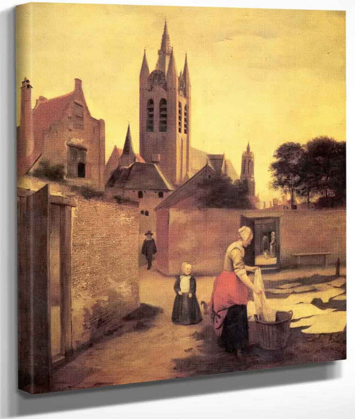 A Woman And A Child On A Bleichwiese By Pieter De Hooch