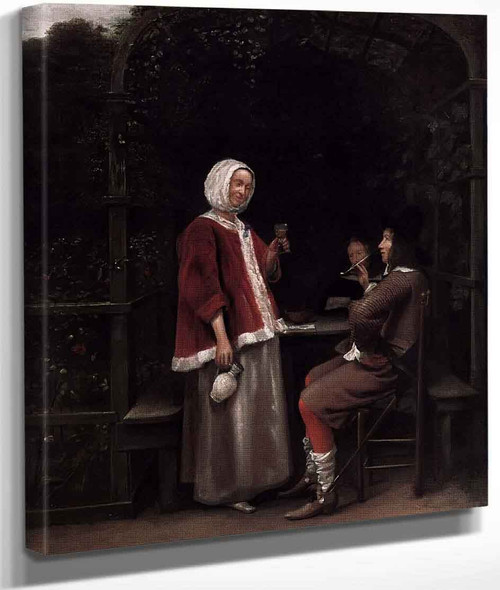 A Woman And Two Men In An Arbour By Pieter De Hooch
