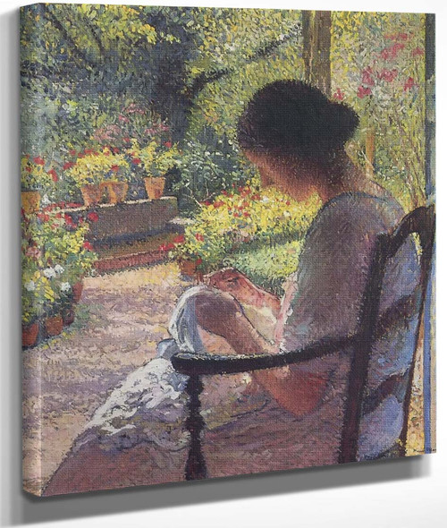A Woman Sewing By Henri Martin By Henri Martin