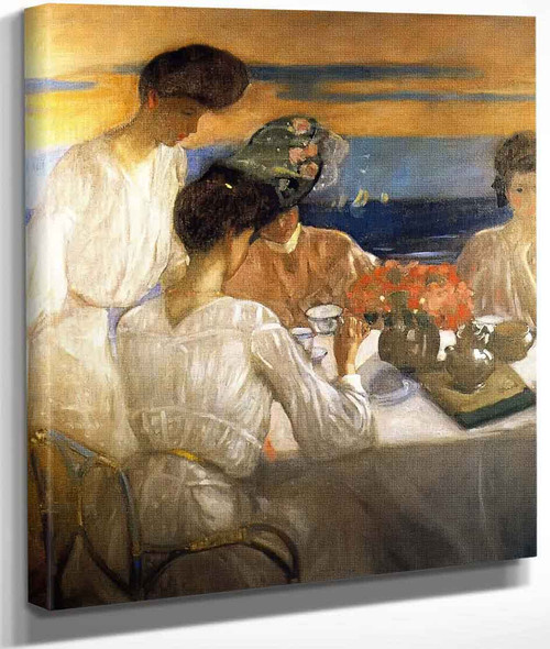 Afternoon Tea On The Terrace By Frederick Carl Frieseke By Frederick Carl Frieseke