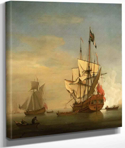 An English Sixth Rate Ship Firing A Salute As A Barge Leaves By Willem Van De Velde The Younger