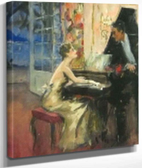 At The Piano By Edward Cucuel By Edward Cucuel