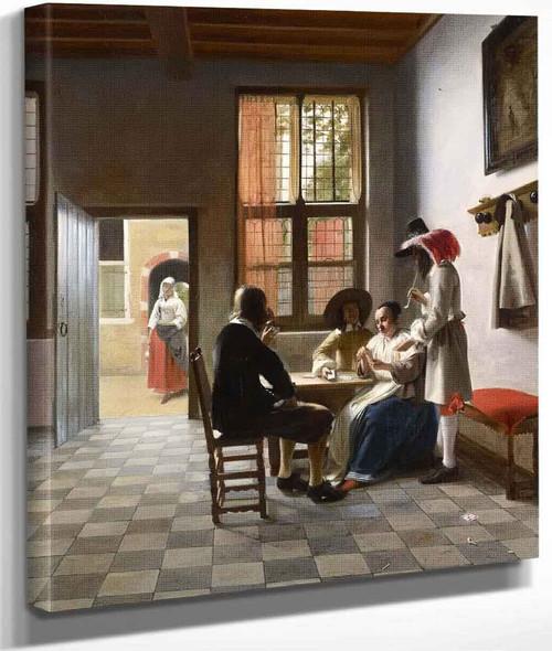 Cardplayers In A Sunlit Room By Pieter De Hooch
