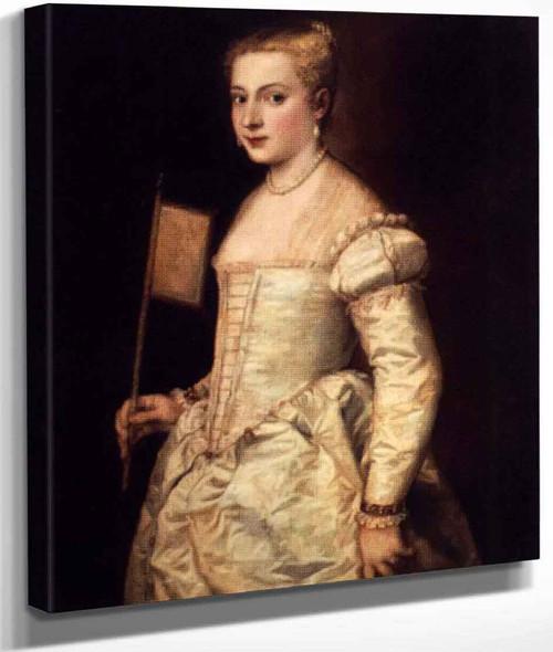 Girl With A Fan By Titian