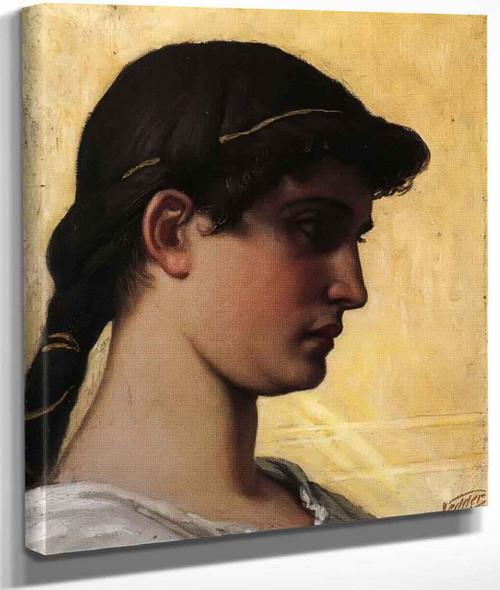 Head Of A Roman Maiden By Elihu Vedder