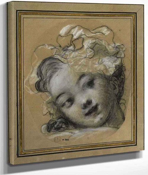 Head Of A Young Girl With An Hat By Jean Honore Fragonard By Jean Honore Fragonard