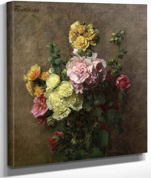 Hollyhocks Without Vase By Henri Fantin Latour By Henri Fantin Latour