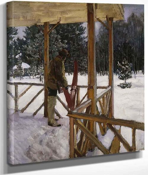 Hunter With Skis By Sergei Arsenevich Vinogradov Russian