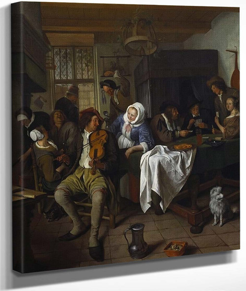Interior Of A Tavern With Card Players And A Violin Player By Jan Steen