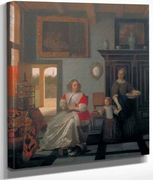 Interior With A Woman Knitting, A Serving Woman And A Child By Pieter De Hooch