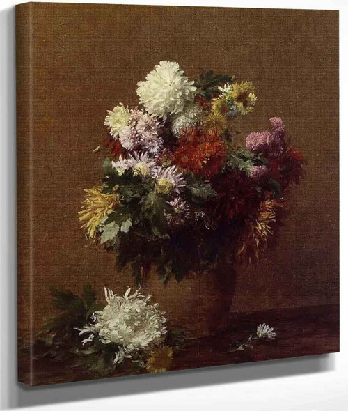 Large Bouquet Of Chrysanthemums By Henri Fantin Latour By Henri Fantin Latour