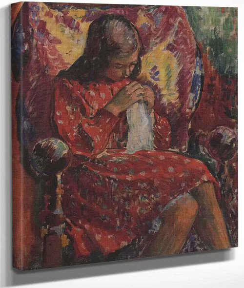 Marthe Sewing By Henri Lebasque By Henri Lebasque