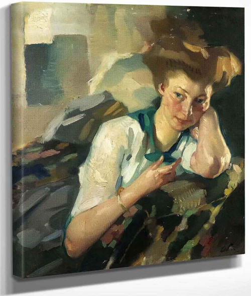Portrait Of A Young Woman By Leo Putz