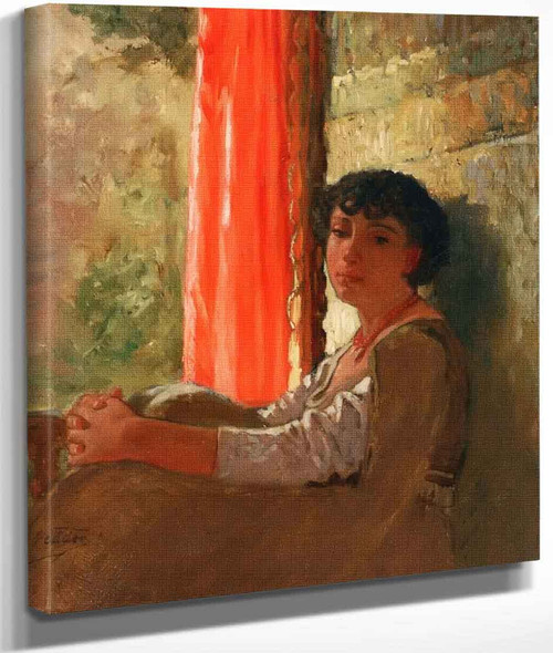 Seated Girl With A Red Curtain By Elihu Vedder