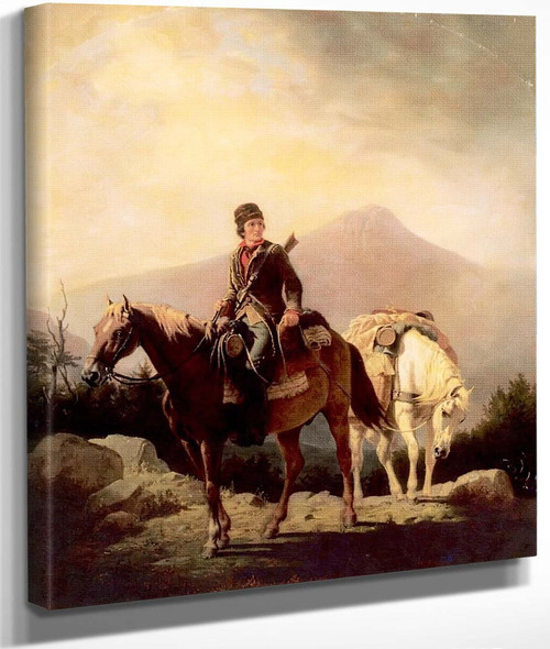 Squire Boone Crossing The Mountains With Stores For His Brother Daniel, Encamped In The Wilds By William Tylee Ranney