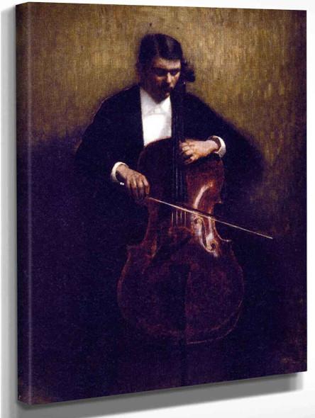 Cello Player By Vilhelm Hammershoi  By Vilhelm Hammershoi