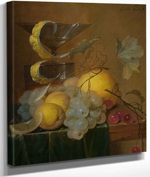 Still Life With A Wine Glass, Lemon Peel, Peaches, Grapes And Cherries By Jan Davidszoon De Heem By Jan Davidszoon De Heem