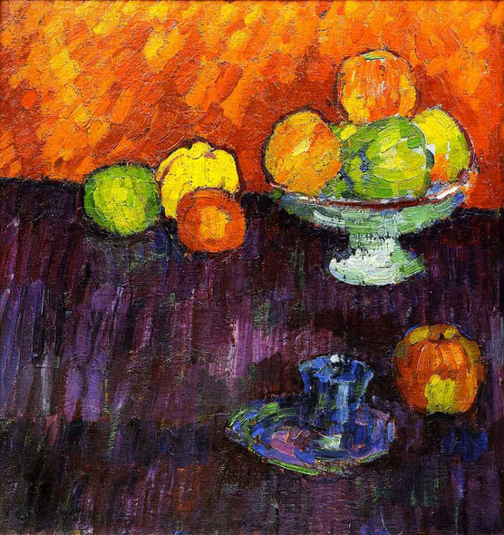 Still Life With Apples And Blue Cup By Alexei Jawlensky By Alexei Jawlensky