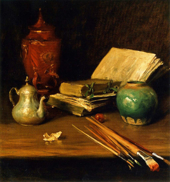 Still Life With Brushes And Pottery By William Merritt Chase By William Merritt Chase