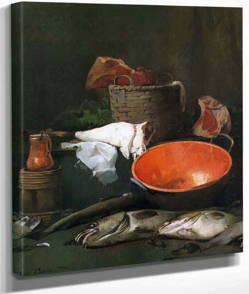 Still Life With Fish And Copper Bowl By Emil Carlsen By Emil Carlsen