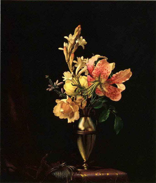 Still Life With Flowers In A Silver Vase By Martin Johnson Heade