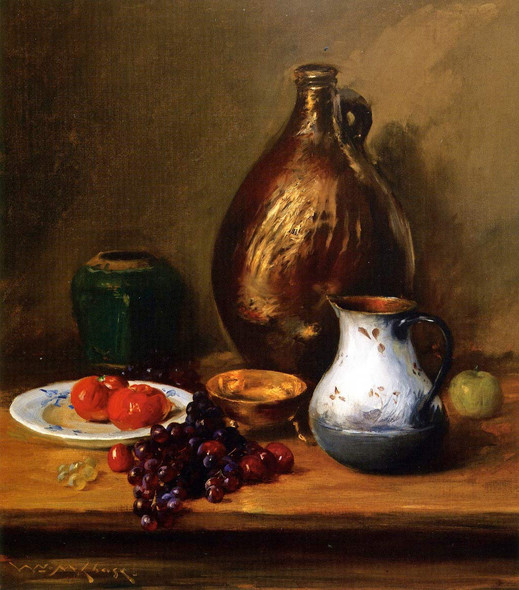 Still Life With Fruit And Pottery By William Merritt Chase By William Merritt Chase