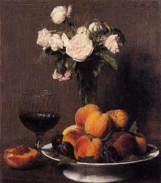 Still Life With Roses, Fruit And A Glass Of Wine By Henri Fantin Latour By Henri Fantin Latour