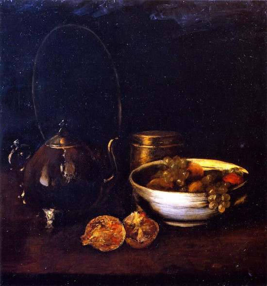 Still Life With Tea Kettle And Fruit By William Merritt Chase By William Merritt Chase