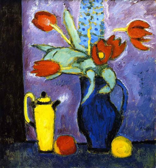 Still Life With Tulips, Blue Jug, Yellow Coffee Pot By Alexei Jawlensky By Alexei Jawlensky