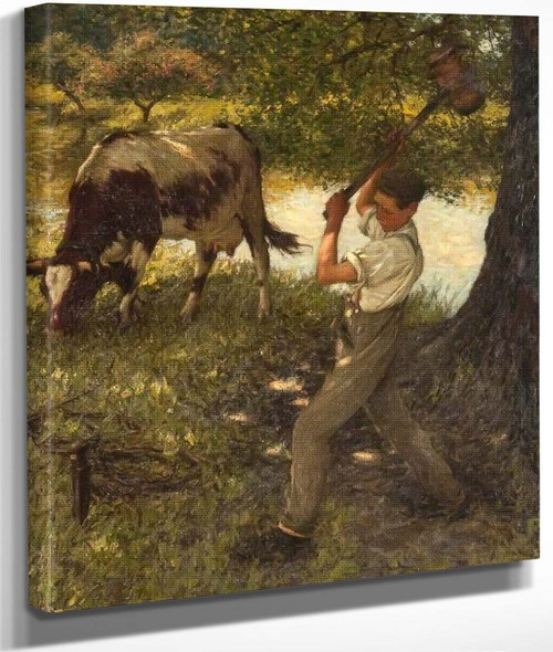 Stumping The Cow By Henry La Thangue